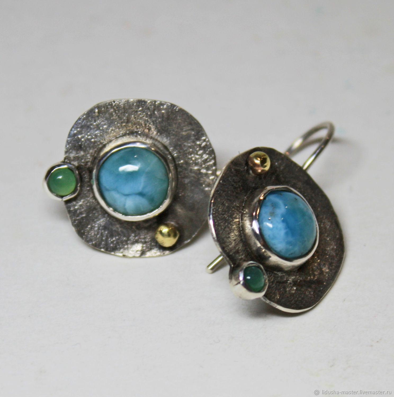 earrings with larimar, Earrings, Nizhny Novgorod,  Фото №1
