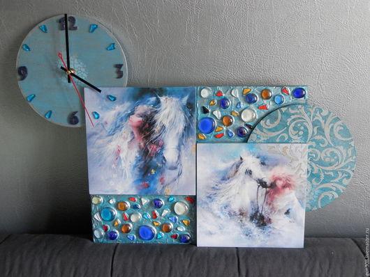 """Часы для дома ручной работы. Ярмарка Мастеров - ручная работа. Купить Часы-панно """"Нежность"""". Handmade. Голубой, часы необычные"""