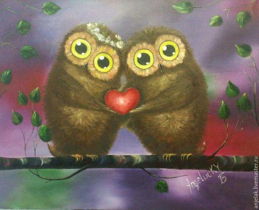 """Животные ручной работы. Ярмарка Мастеров - ручная работа. Купить """"А у нас Сердце"""", жикле на холсте.. Handmade. Фиолетовый"""