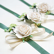 Свадебный салон handmade. Livemaster - original item Bracelets for bridesmaids green white ivory. Handmade.