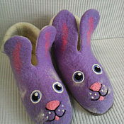 """Обувь ручной работы. Ярмарка Мастеров - ручная работа Валяная домашняя обувь """"Зайки""""  (сделаю на заказ). Handmade."""