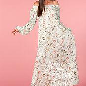 Одежда ручной работы. Ярмарка Мастеров - ручная работа Цветочное макси бохо летнее длинное платье с открытыми плечами. Handmade.