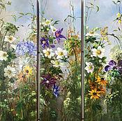 """Картины и панно handmade. Livemaster - original item Картина Триптих """"Травы и цветы в саду"""". Handmade."""