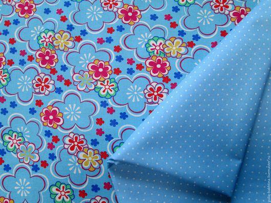 `Цветочек на голубом`+`Горошек просо на голубом`