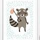Детская ручной работы. Постер для детской Енот-путешественник. Ольга Лата  (Lala-kids). Интернет-магазин Ярмарка Мастеров. енот