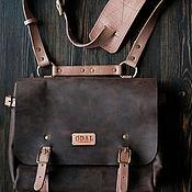 Мужская сумка ручной работы. Ярмарка Мастеров - ручная работа Кожаная мужская сумка мессенджер (портфель) коричневая, через плечо. Handmade.