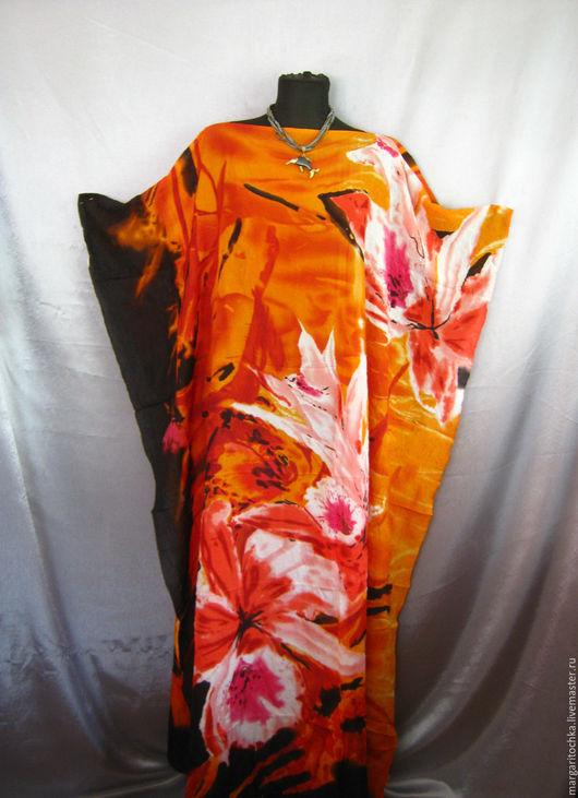 Пляжные платья ручной работы. Ярмарка Мастеров - ручная работа. Купить Пляжное платье легкое. Handmade. Рыжий, платье для полных