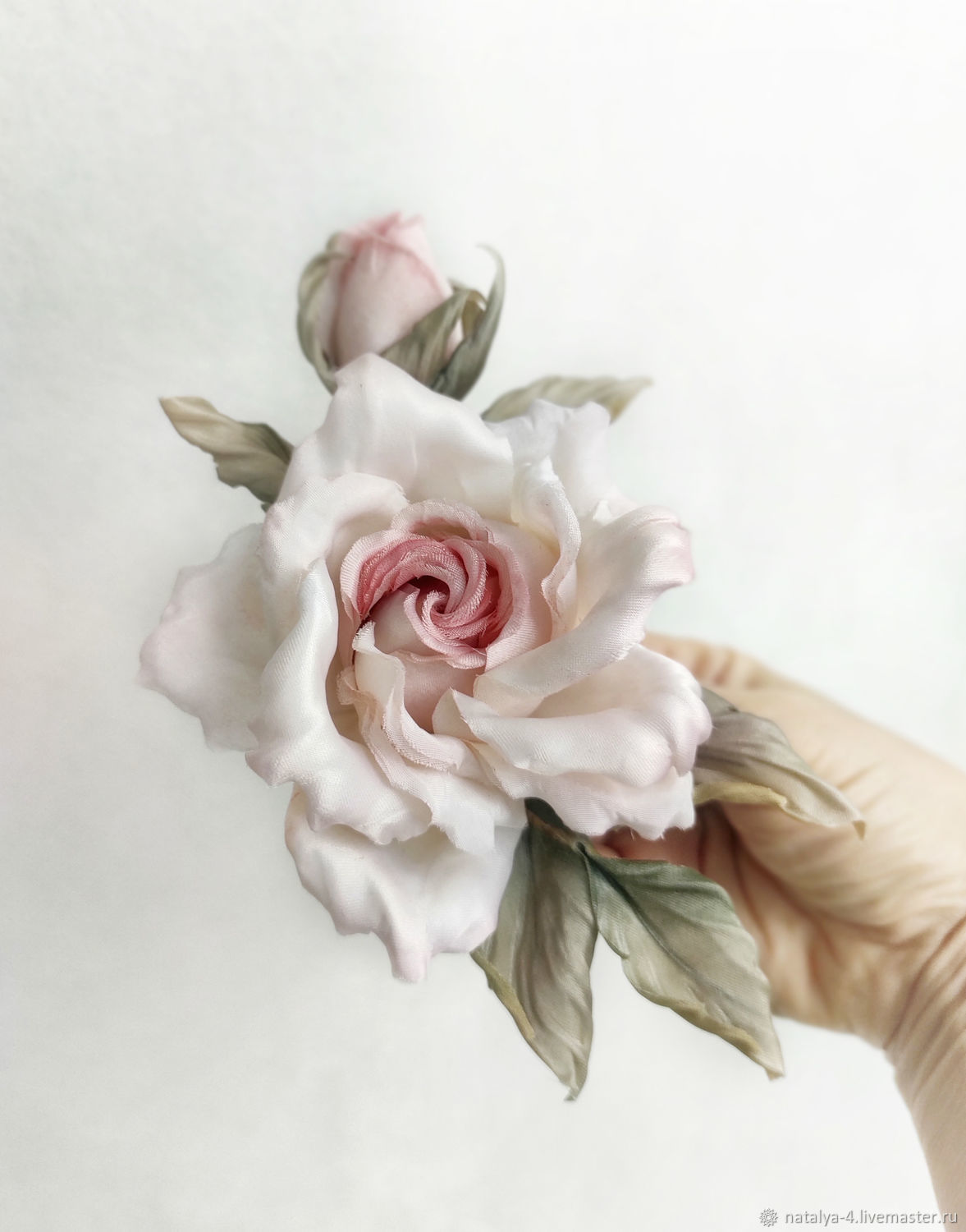 Rose silk brooch 'Estelle', Brooches, Rostov-on-Don,  Фото №1