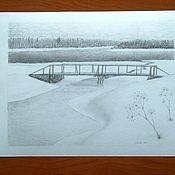 Картины и панно handmade. Livemaster - original item Pictures: Silver landscape. Handmade.