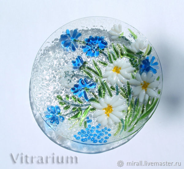 Plate of colored glass fusing 'wild flowers', Plates, Odessa,  Фото №1
