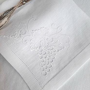 Текстиль ручной работы. Ярмарка Мастеров - ручная работа Льняная столовая салфетка  Белый виноград. Handmade.
