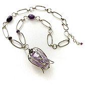 Украшения handmade. Livemaster - original item Tulip necklace with amethyst purple necklace purple flower decoration. Handmade.