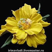 Украшения handmade. Livemaster - original item Decoration leather.. Brooch hairpin flower YELLOW POPPY. Handmade.