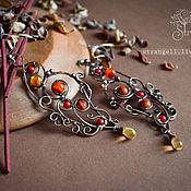 Украшения handmade. Livemaster - original item Copper earrings with carnelian and coral Long big earrings Red. Handmade.