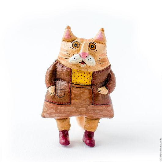 Игрушки животные, ручной работы. Ярмарка Мастеров - ручная работа. Купить Текстильная кукла Тетя кошка. Handmade. Коричневый, синтепон