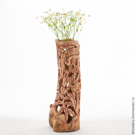 """Вазы ручной работы. Ярмарка Мастеров - ручная работа. Купить Ваза деревянная """"Зимнее озеро"""". Handmade. Ваза, резьба по дереву"""