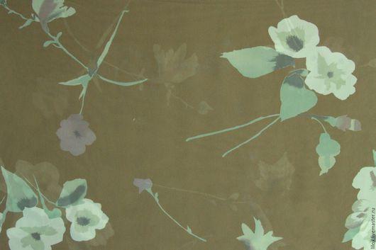 Шитье ручной работы. Ярмарка Мастеров - ручная работа. Купить Шифон Цветочный оливковый. Handmade. Оливковый, цветочный принт