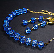 Украшения handmade. Livemaster - original item Set Necklace and Earrings gold Plated 925 sterling Silver Blue spinel. Handmade.
