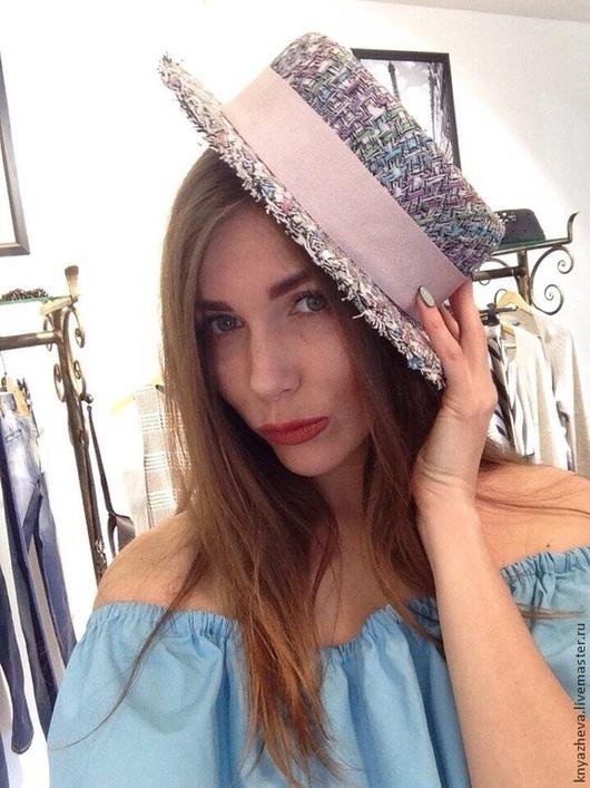 Шляпы ручной работы. Ярмарка Мастеров - ручная работа. Купить Маленькая шляпка- канотье из твида Chanel.. Handmade. Разноцветный