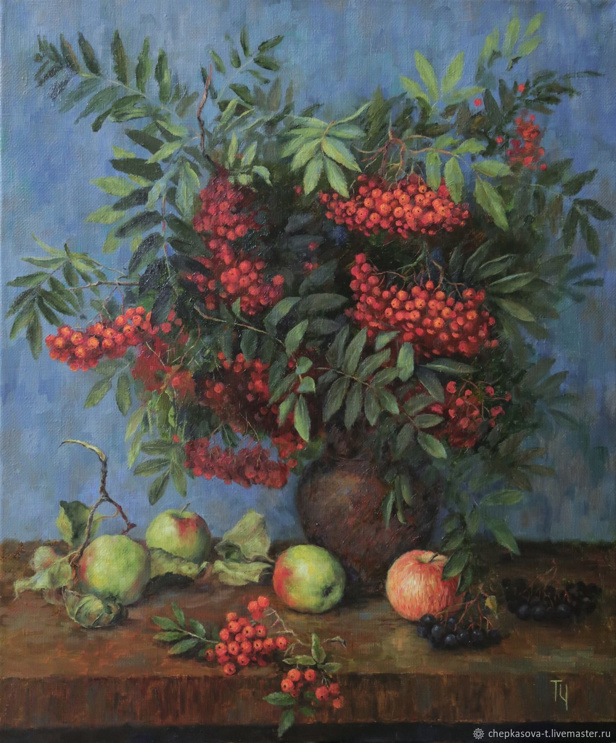 Oil painting still Life with mountain ash. 60h50 cm. In the frame, Pictures, Moscow,  Фото №1