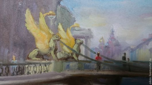 Город ручной работы. Ярмарка Мастеров - ручная работа. Купить Картина маслом мост со сфинксами в Санкт-Петербурге. Handmade.