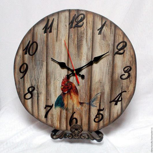 """Часы для дома ручной работы. Ярмарка Мастеров - ручная работа. Купить Часы большие настенные  """"Кочет"""". Handmade. Коричневый"""