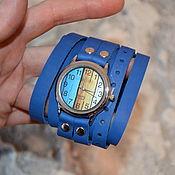 """Часы наручные ручной работы. Ярмарка Мастеров - ручная работа Синие часы - """"Часовщик рисовал"""". Handmade."""