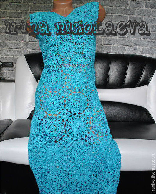 Платья ручной работы. Ярмарка Мастеров - ручная работа. Купить Платье вязаное крючком. Handmade. Бирюзовый, платье летнее