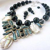 Украшения handmade. Livemaster - original item NECKLACE 2 strands EARRINGS - ONYX, BIWA, mother of PEARL beads.. Handmade.
