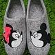 Обувь ручной работы. домашние валяные тапочки из натуральной шерсти Мики+Мини. Кэт & Ко (6116466). Ярмарка Мастеров. кожа
