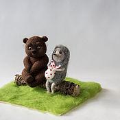 Куклы и игрушки ручной работы. Ярмарка Мастеров - ручная работа Ежик в тумане/ Ежик и. Медвежонок. Handmade.