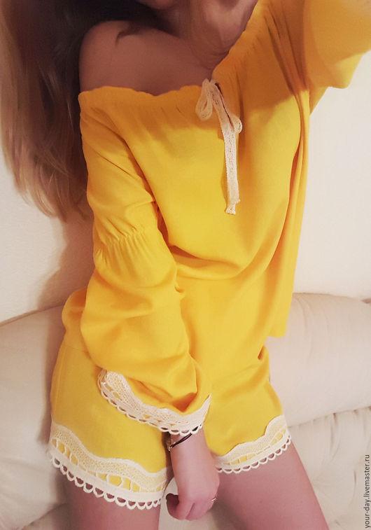 """Белье ручной работы. Ярмарка Мастеров - ручная работа. Купить Домашний костюм , пижама """"Солнечный зайчик"""". Handmade. Желтый"""