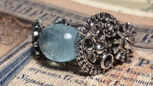 Кольца ручной работы. Ярмарка Мастеров - ручная работа. Купить Авторское кольцо с природным аквамарином. Handmade. Комбинированный, аквамарин в серебре