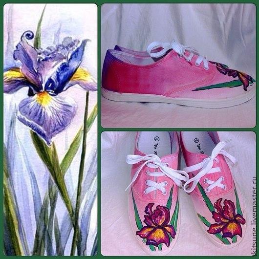 """Обувь ручной работы. Ярмарка Мастеров - ручная работа. Купить Кеды низкие текстильные """"Ирисы"""". Handmade. Разноцветный, кеды с рисунком"""