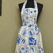 Для дома и интерьера ручной работы. Ярмарка Мастеров - ручная работа фартук-передник женский для кухни гжель. Handmade.