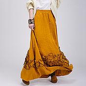 Одежда ручной работы. Ярмарка Мастеров - ручная работа Льняная бохо юбка 5-4 песочный цвет. Handmade.