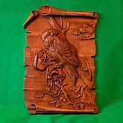 Картины и панно handmade. Livemaster - original item Panel Owl on a scroll. Handmade.