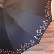 Аксессуары ручной работы. Ярмарка Мастеров - ручная работа Королевский большой зонт с росписью, стразами и цветами из лент. Handmade.