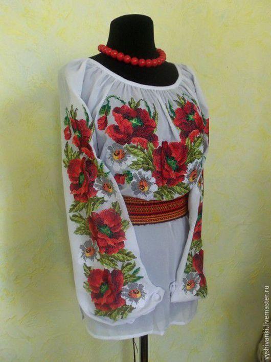 """Блузки ручной работы. Ярмарка Мастеров - ручная работа. Купить Красивая женская вышиванка """"Маковое раздолье"""" подарок на день рожденье. Handmade."""