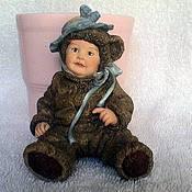 Материалы для творчества handmade. Livemaster - original item Baby dressed as a bear in a hat. Handmade.