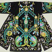 Одежда ручной работы. Ярмарка Мастеров - ручная работа Узбекский вышитый шелком национальный халат, чапан N135. Handmade.