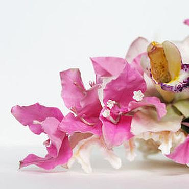 Цветы и флористика ручной работы. Ярмарка Мастеров - ручная работа Интерьерная композиция с бугенвиллией и цимбидиумом. Handmade.