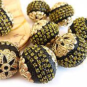 Материалы для творчества handmade. Livemaster - original item Beads, Indonesia clay inlaid with rhinestones 25mm. Handmade.
