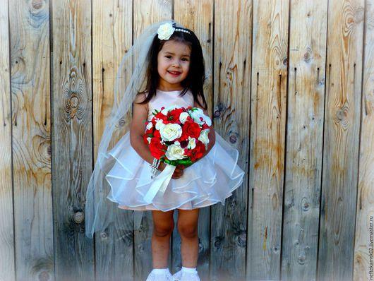 Букеты ручной работы. Ярмарка Мастеров - ручная работа. Купить Букет невесты  из атласных роз. Handmade. Ярко-красный