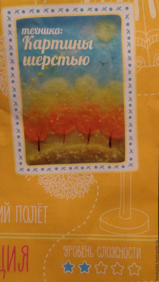 Набор с инструкцией для рисования шерстью картины `Осенний полет`