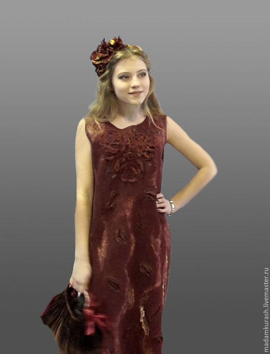 """Платья ручной работы. Ярмарка Мастеров - ручная работа. Купить Платье """"Бордо с золотом"""". Handmade. Бордовый, Платье нарядное, нунофелтинг"""