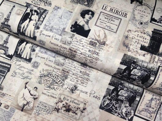 """Шитье ручной работы. Ярмарка Мастеров - ручная работа. Купить Ткань """"Paris News"""". Handmade. Темно-серый, ткань для пэчворка"""