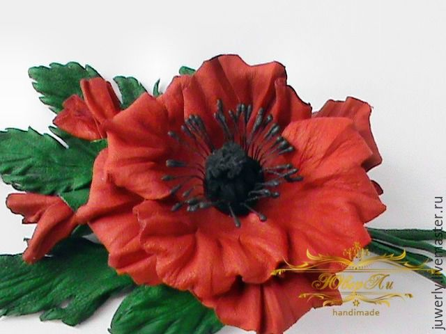 Brooch made of leather decoration leather red poppy flower skin brooches handmade livemaster handmade buy brooch made of leather decoration leather red poppy mightylinksfo