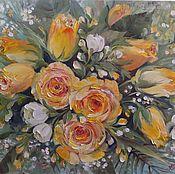 Картины ручной работы. Ярмарка Мастеров - ручная работа Букет из желтых роз. Handmade.