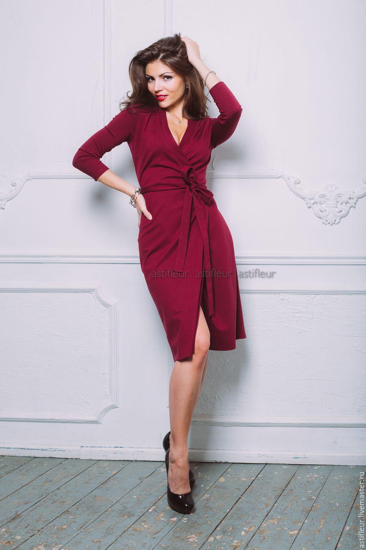 Платье бордового цвета для полных